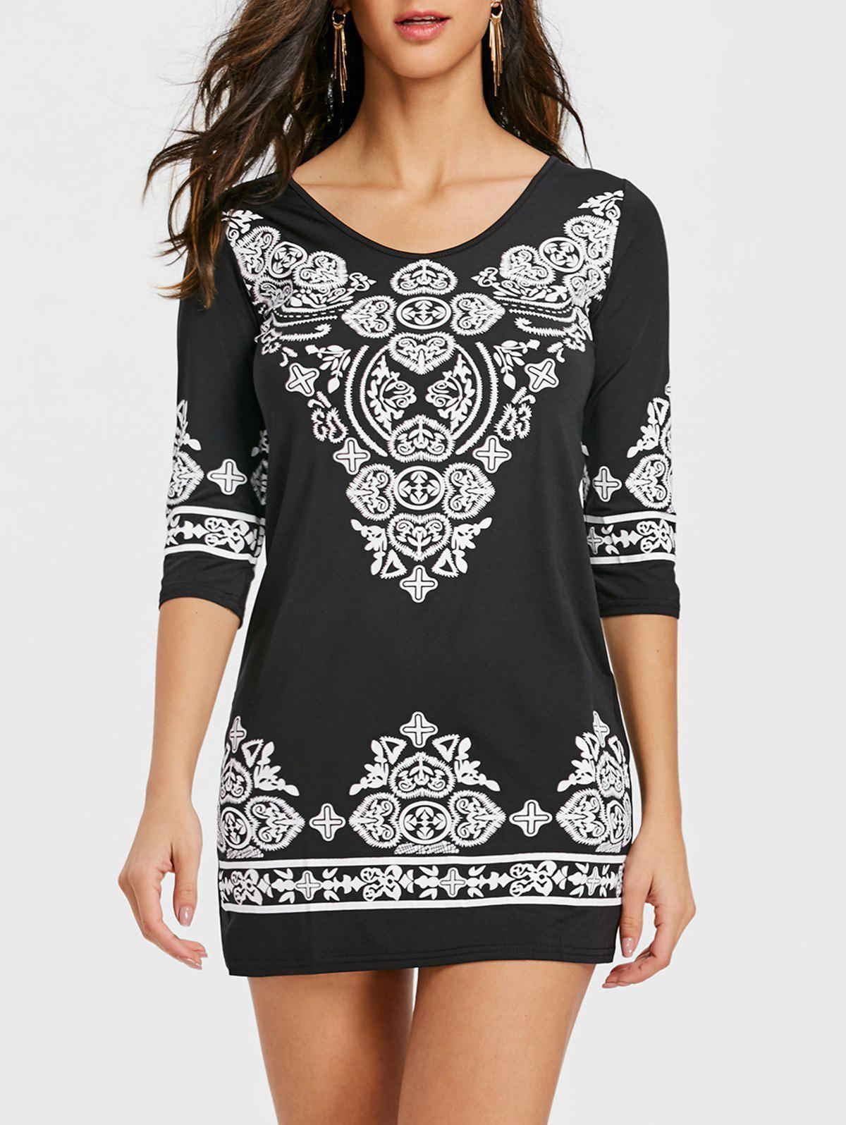 Ethnic Printed Mini Bodycon Dress - BLACK M