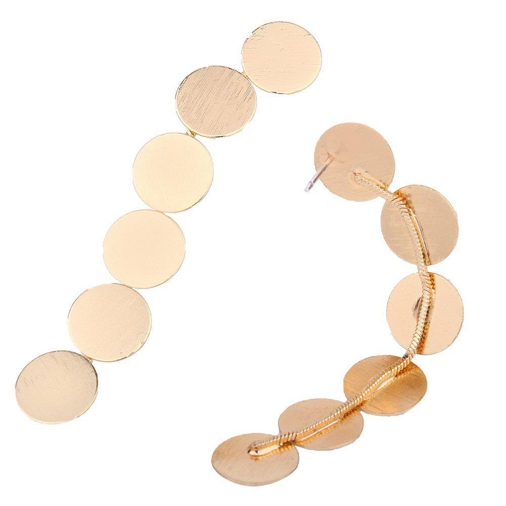 Round Disc Layered Drop Earrings - GOLDEN