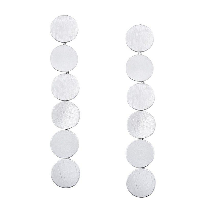 Round Disc Layered Drop Earrings - SILVER