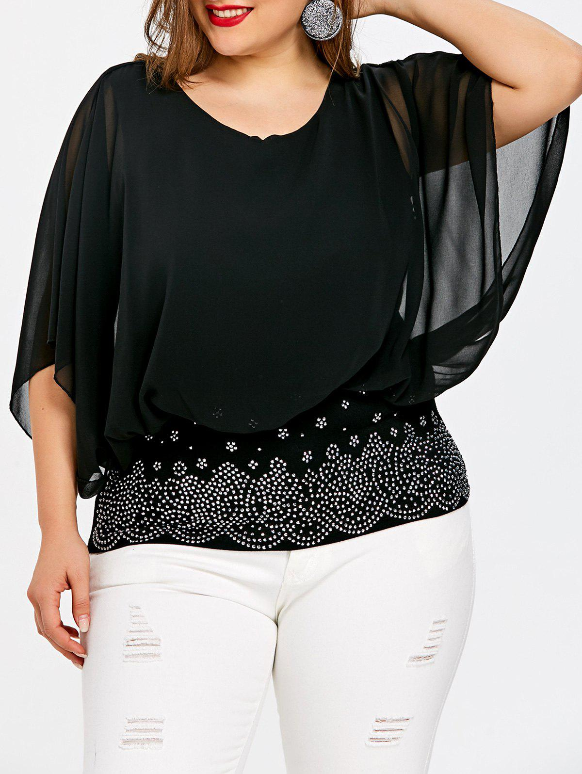 Plus Size Batwing Sleeve Rhinestone Embellished Blouse - BLACK XL