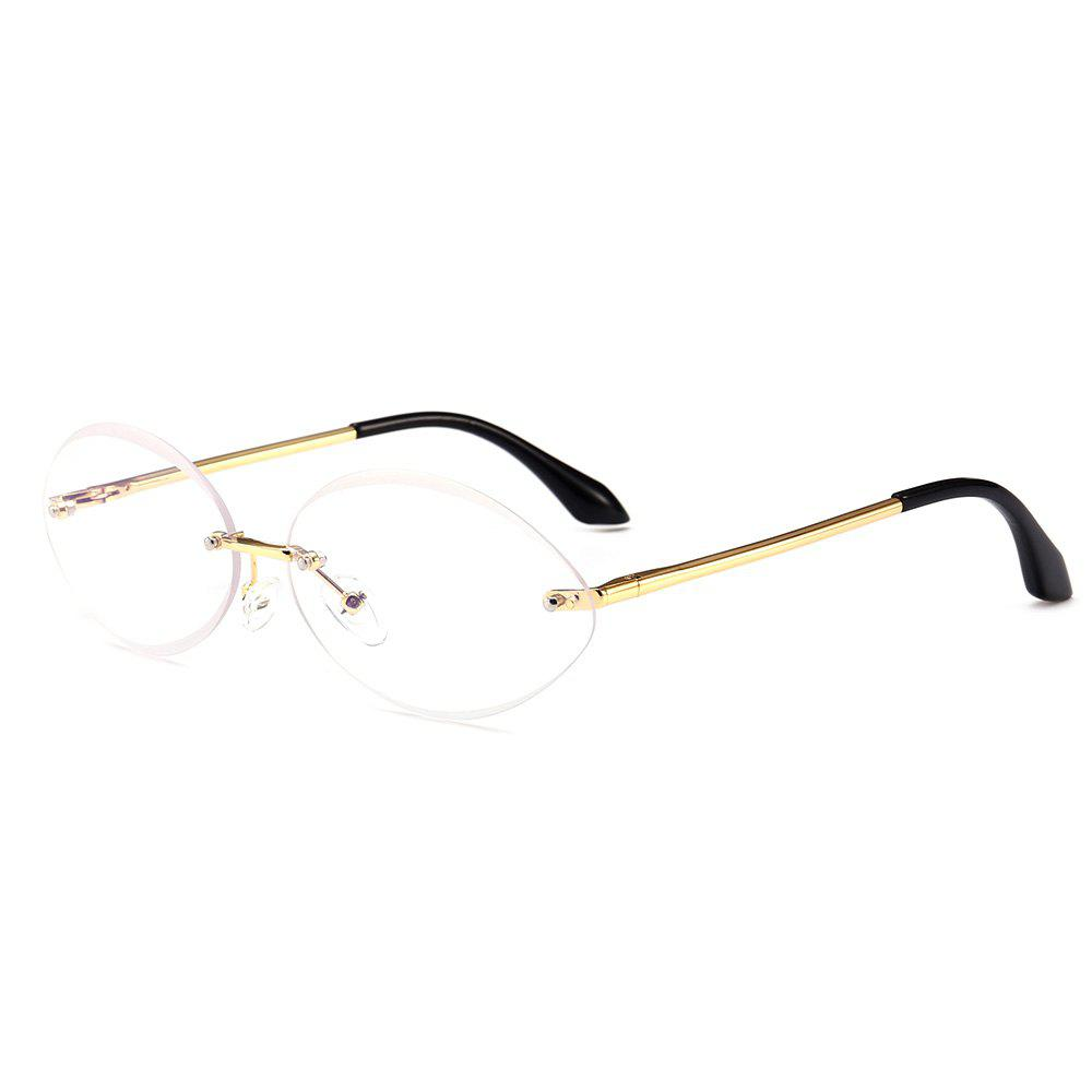 Anti UV Oval Shaped Rimless Sunglasses - WHITE