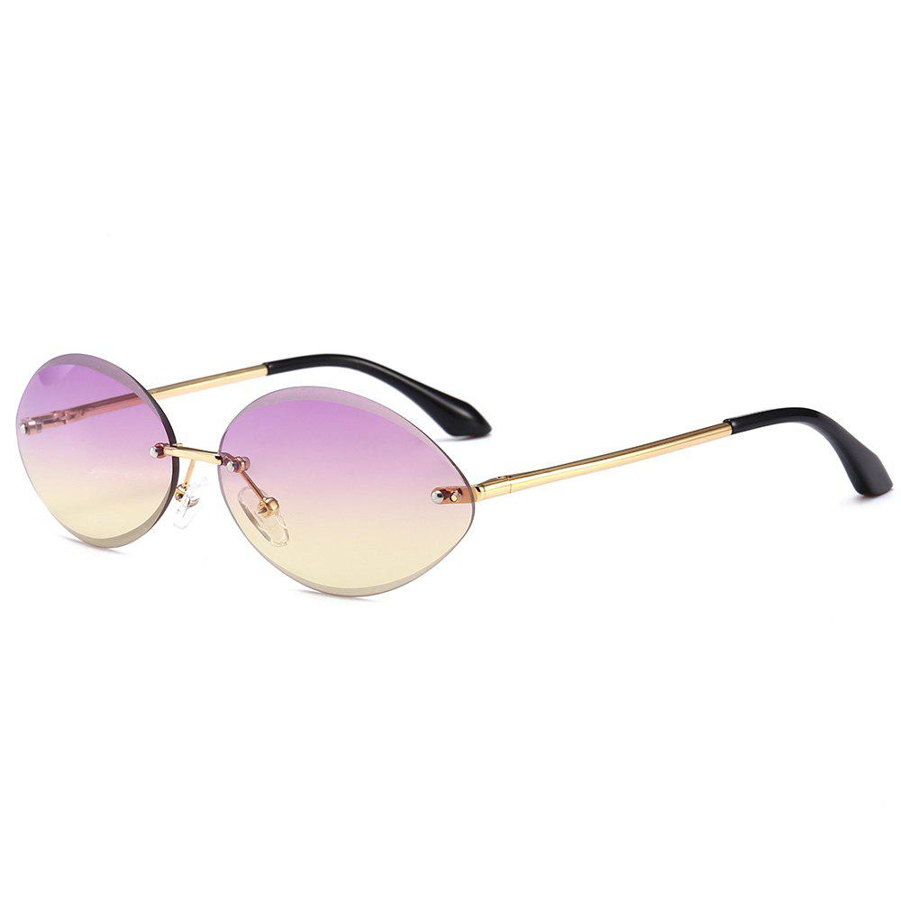 Anti UV Oval Shaped Rimless Sunglasses - LIGHT PURPLE