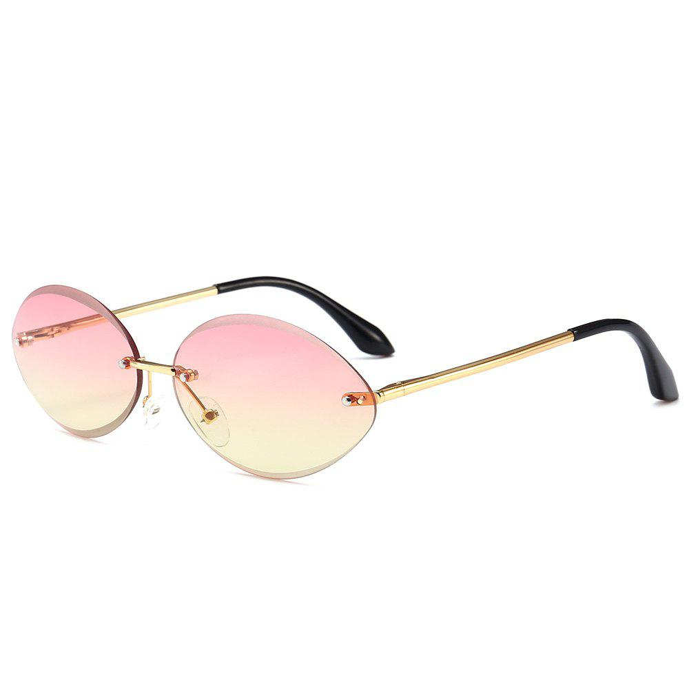 Anti UV Oval Shaped Rimless Sunglasses - LIGHT PINK