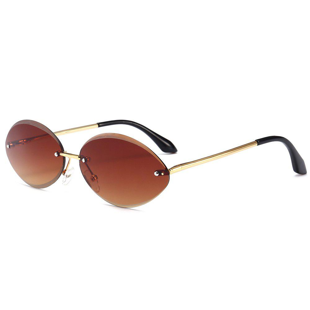 Anti UV Oval Shaped Rimless Sunglasses - TEA COLORED