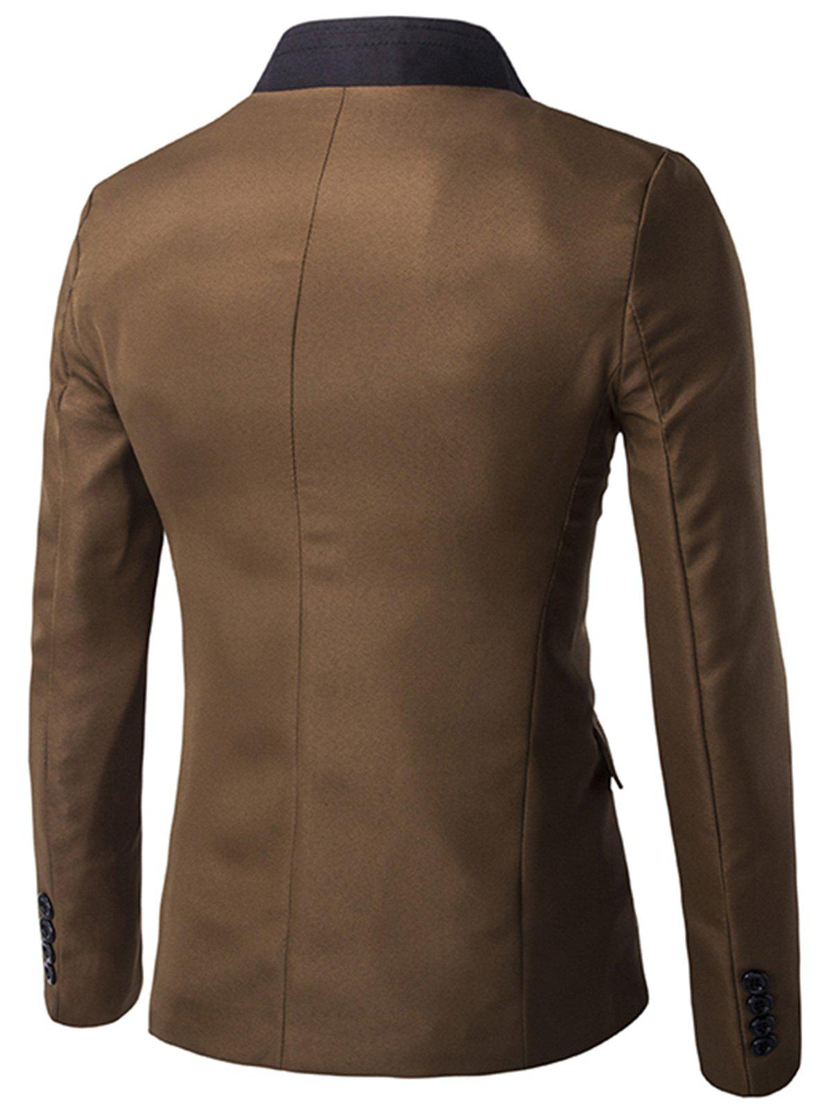 Stand Collar Casual Single Breasted Blazer - CAPPUCCINO 2XL
