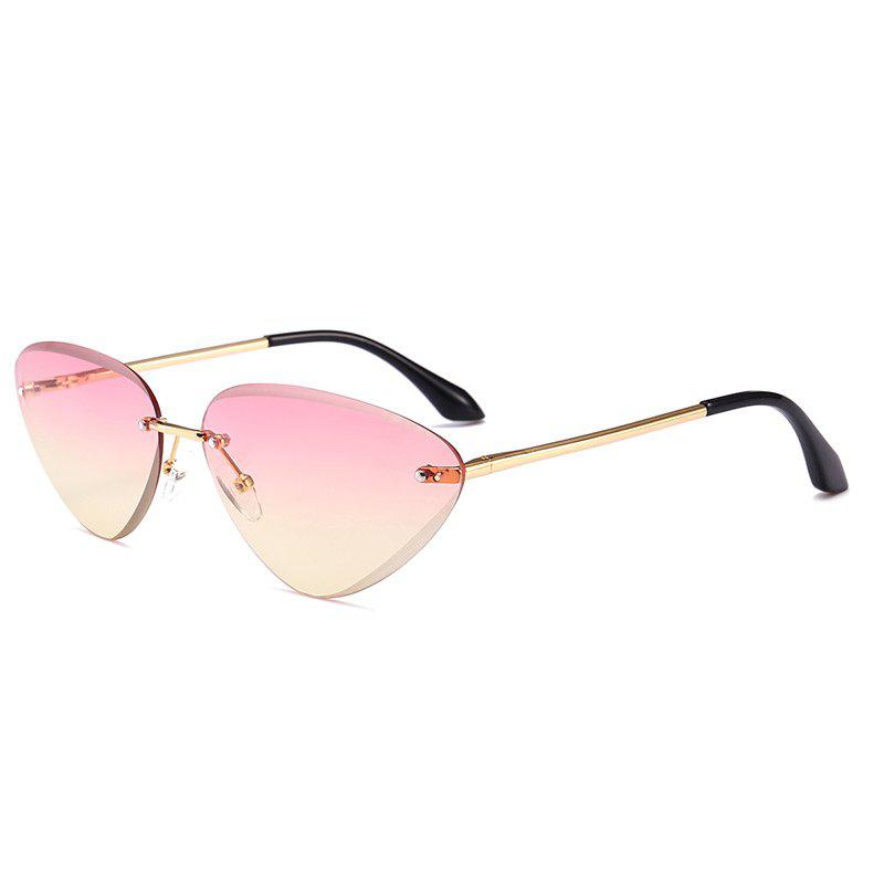 Vintage Rimless Cat Eye Sunglasses - LIGHT PINK