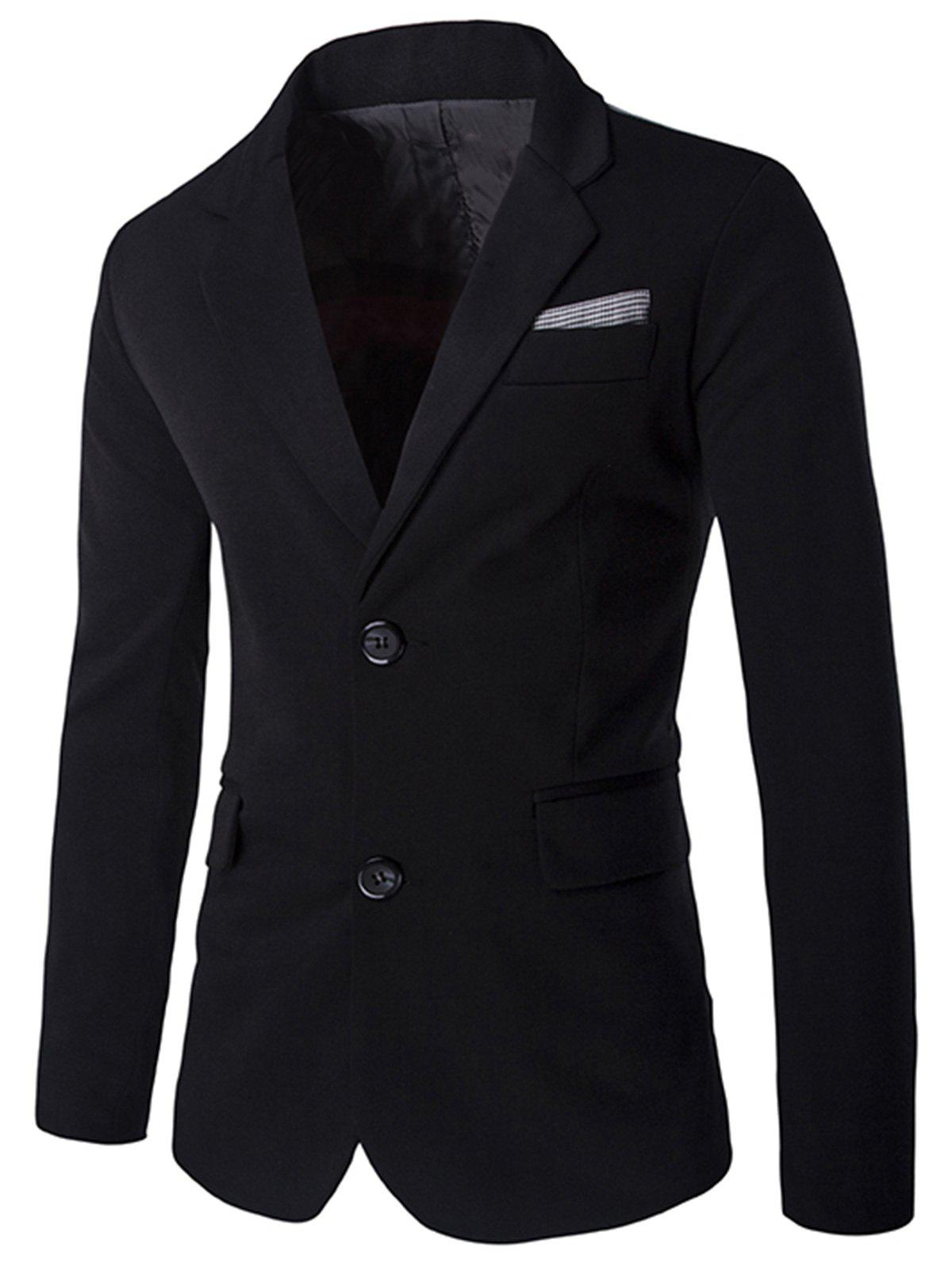 Lapel Swallow Design Color Block Blazer - BLACK XL