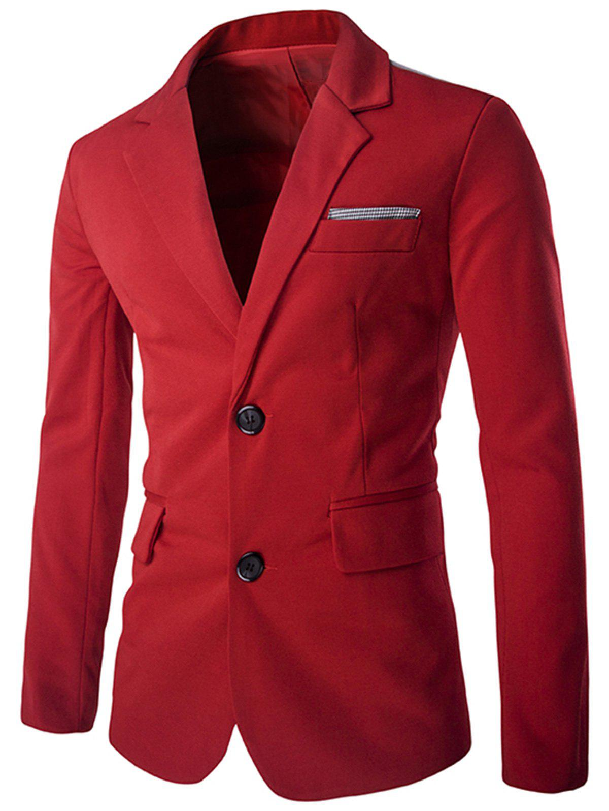 Swallow Gird Single Breasted Color Block Blazer - RED XL