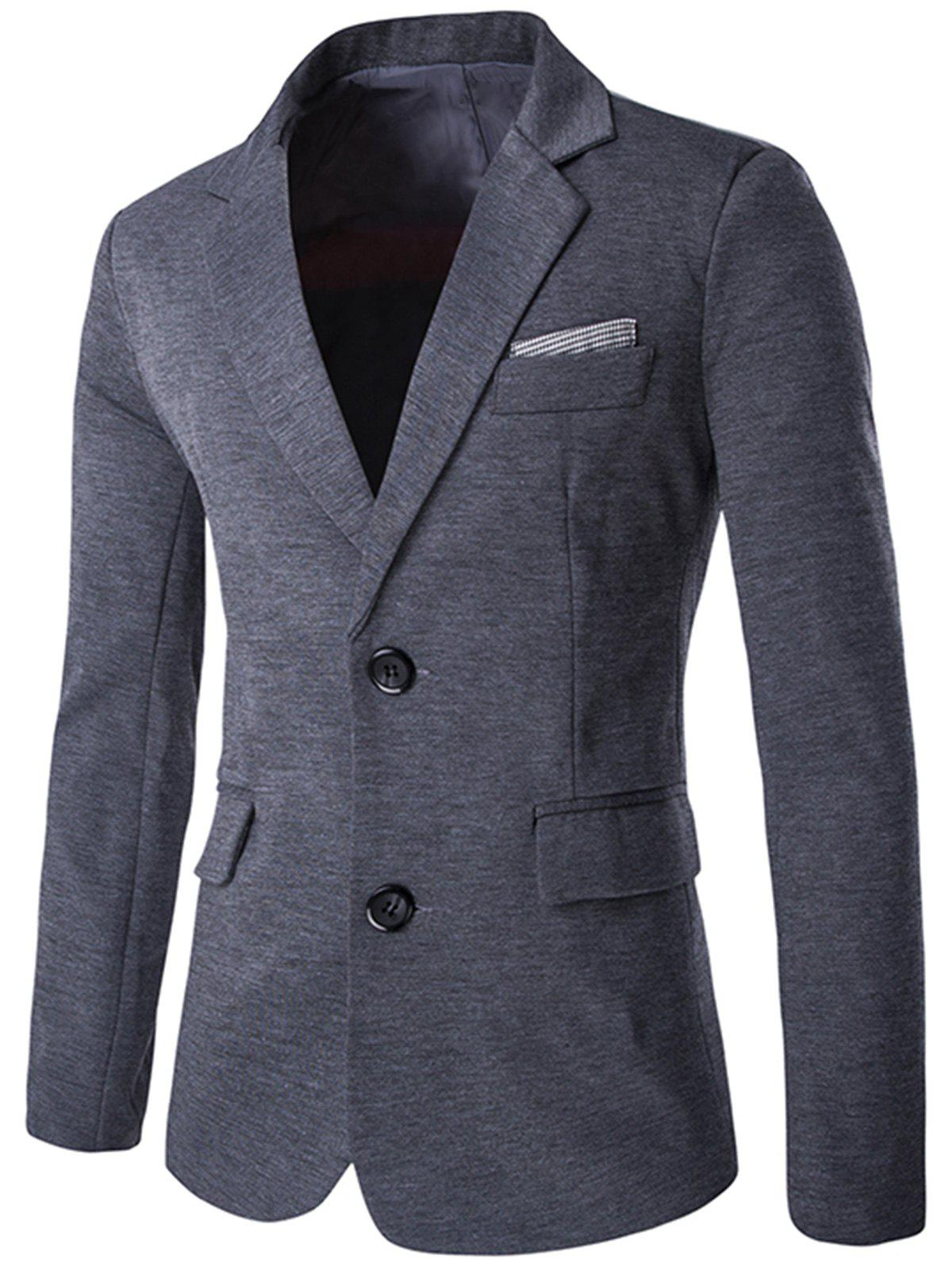 Lapel Swallow Design Color Block Blazer - GRAY 2XL