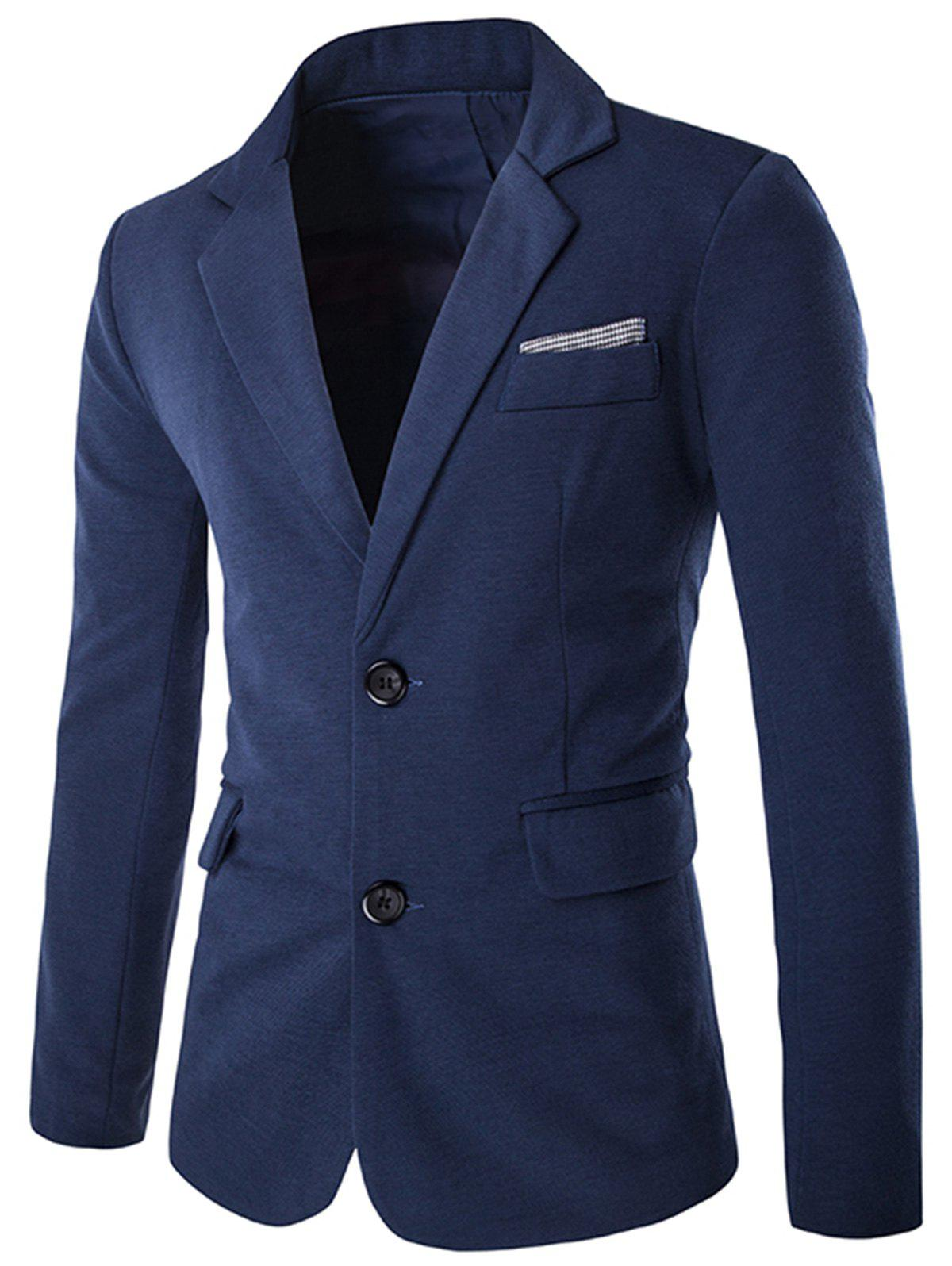 Lapel Swallow Design Color Block Blazer - BLUE 2XL