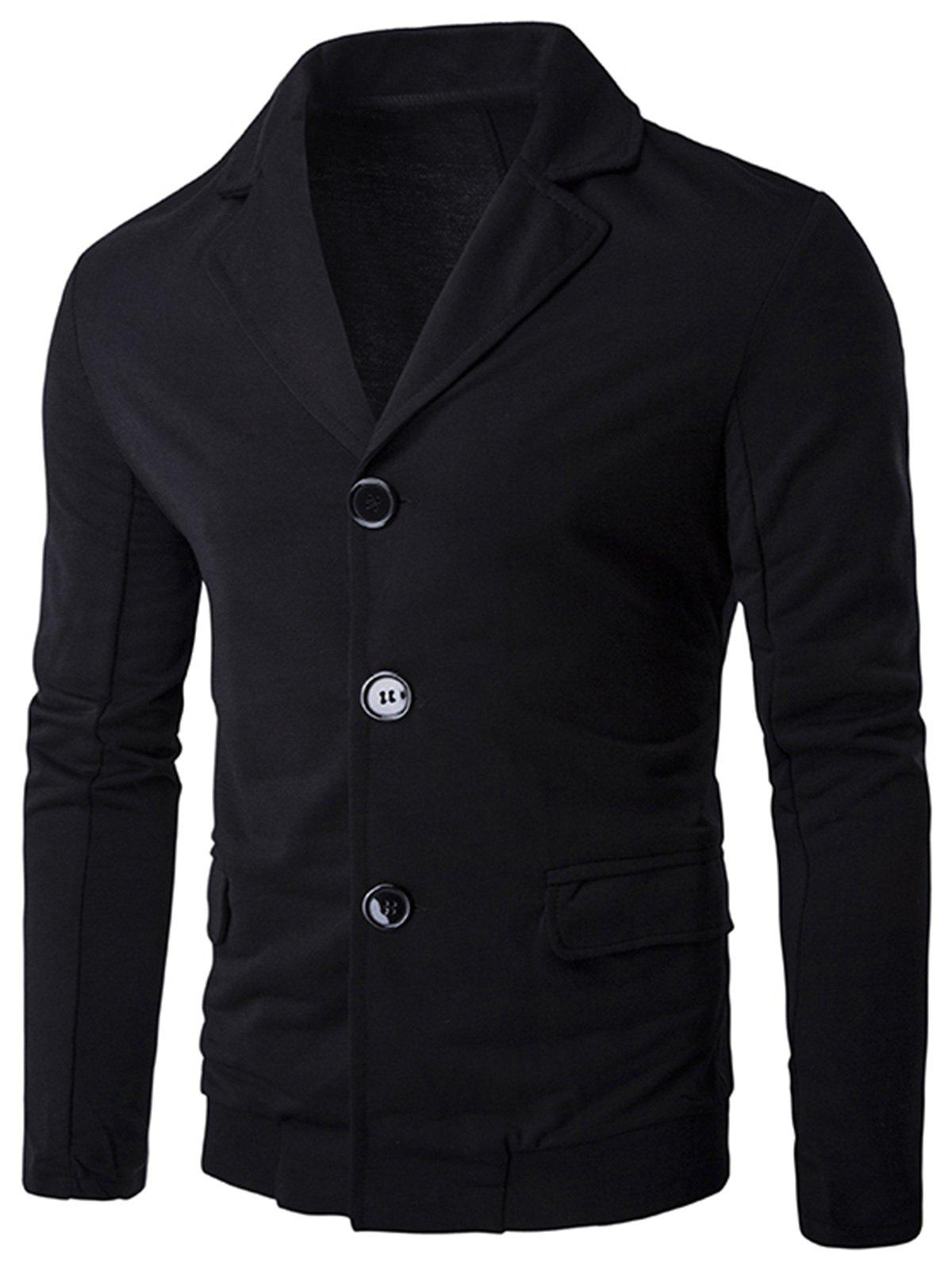Casual Single Breasted Rib Panel Blazer - BLACK L