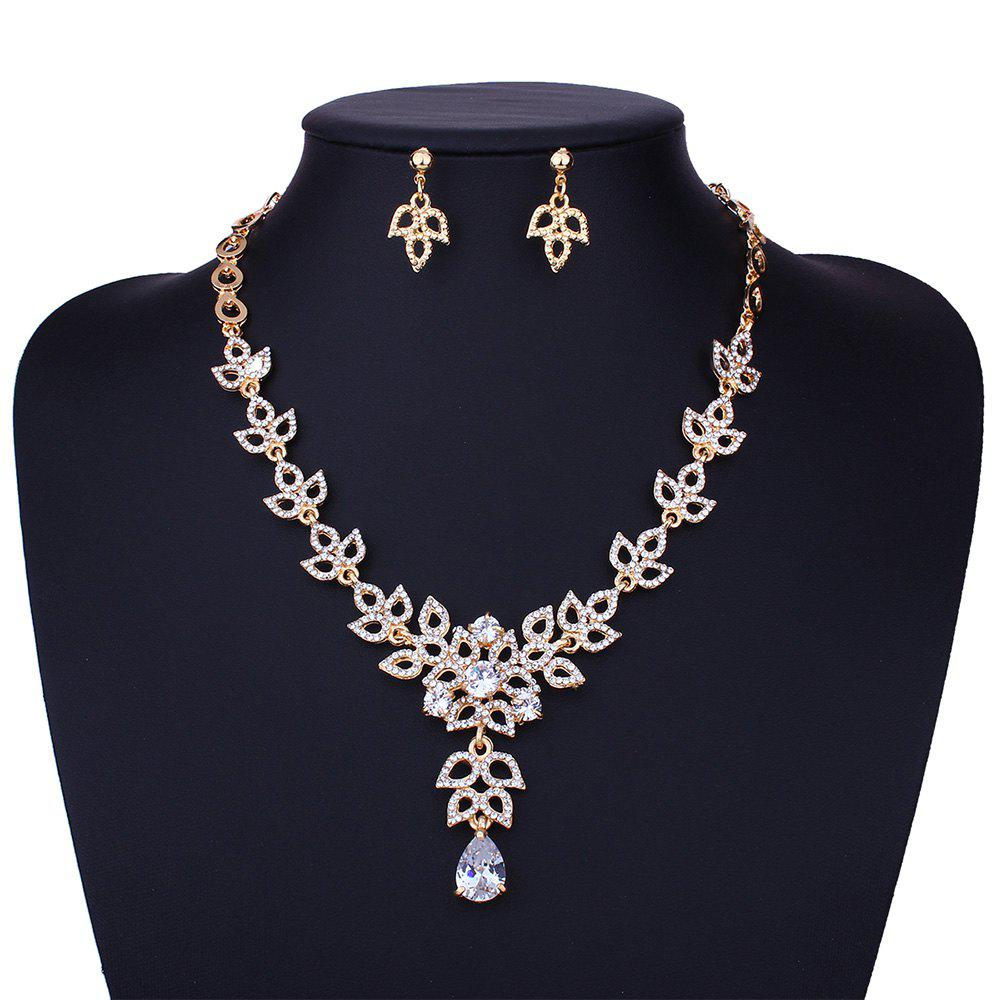 Rhinestone Leaf Sparkly Necklace and Earring Set - GOLDEN