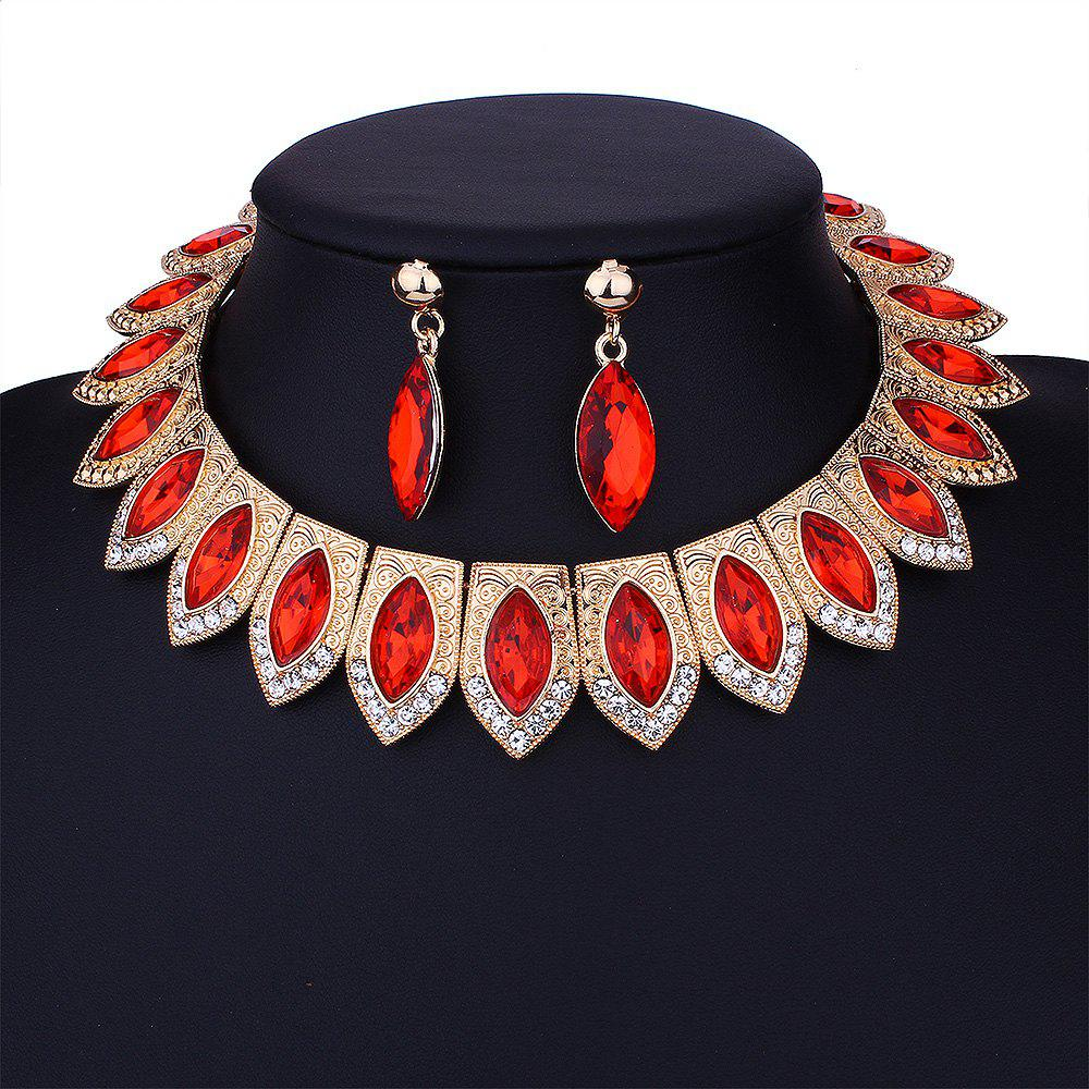Vintage Rhinestone Torques with Earring Set - RED
