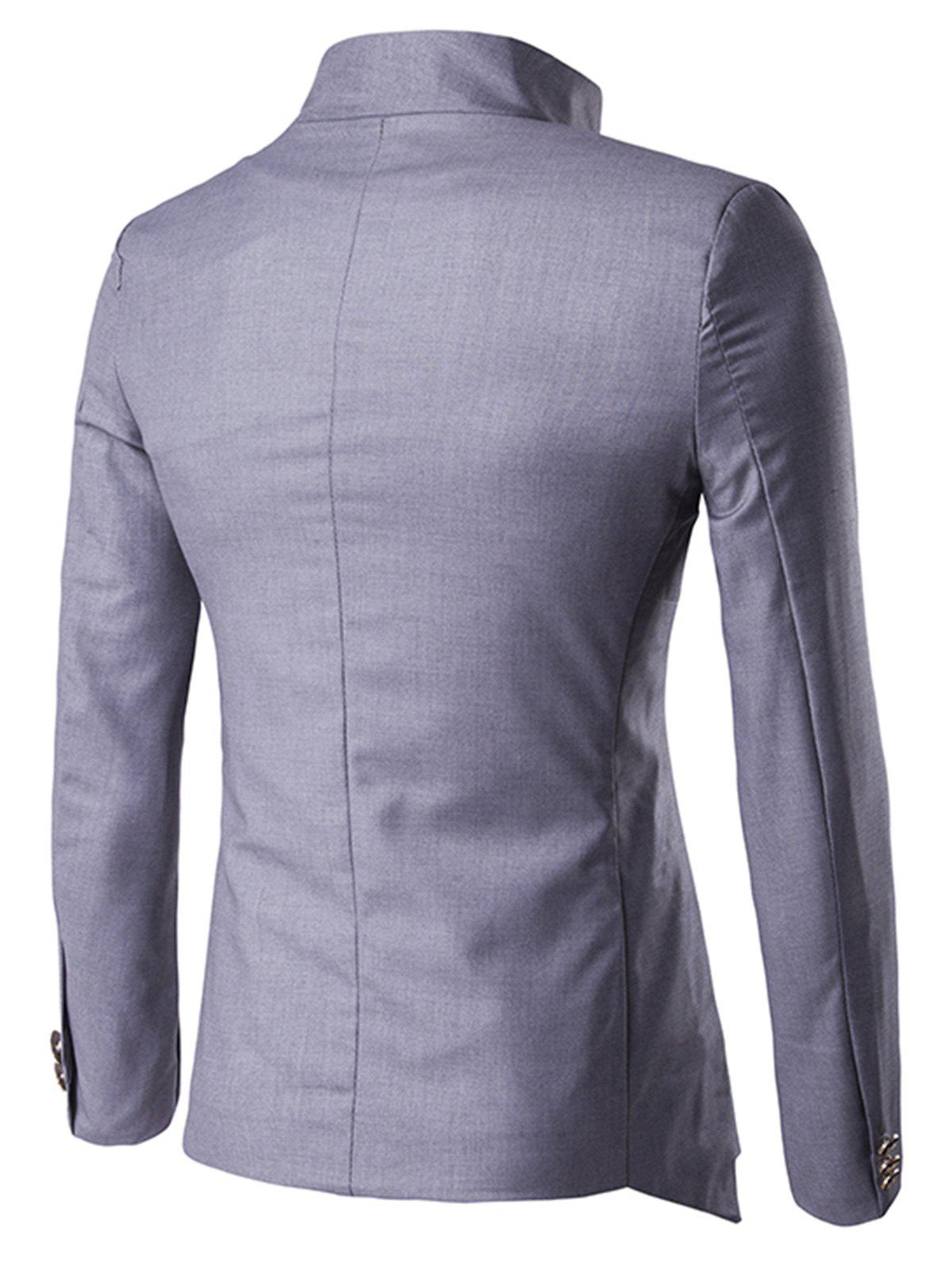 Single Breasted Irregular Design Blazer - GRAY 2XL