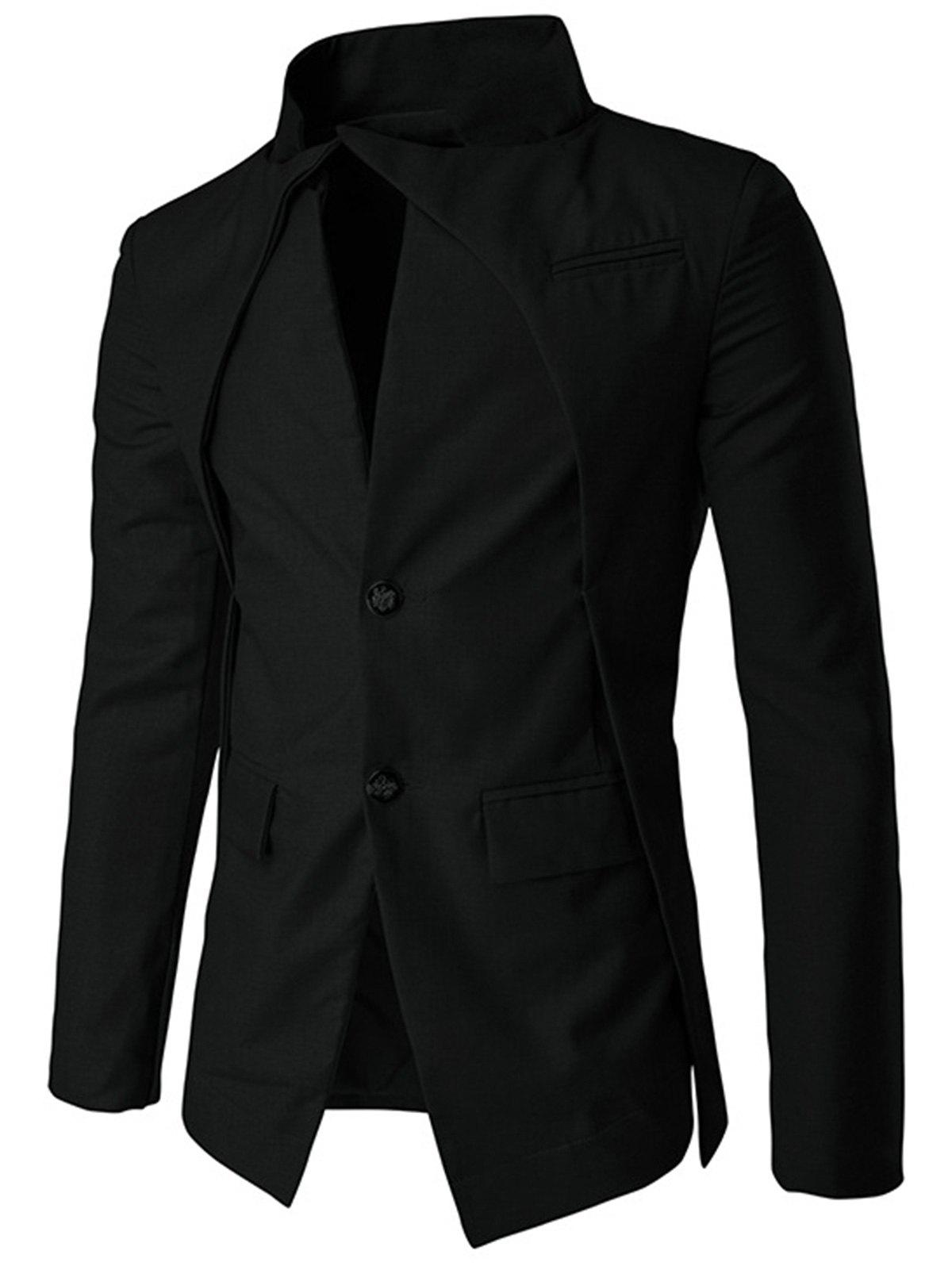 Irregular Design Buttons Blazer - BLACK XL