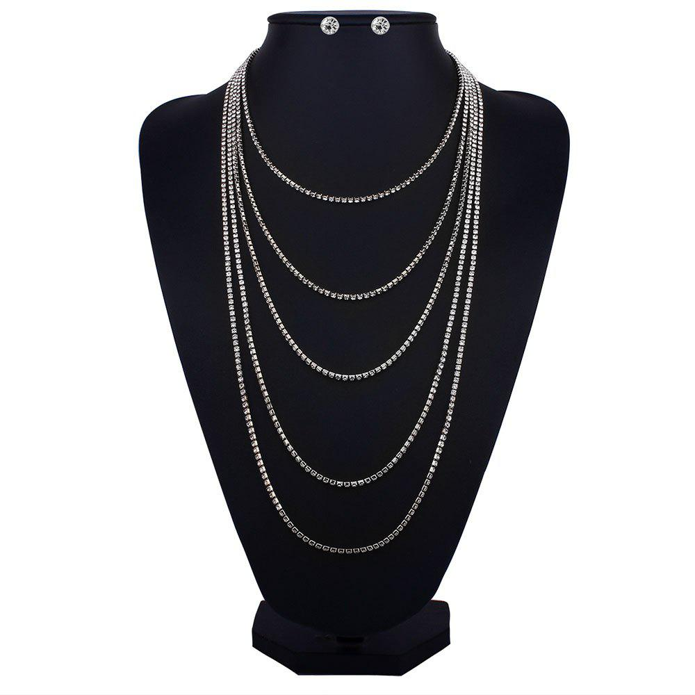 Rhinestone Layered Fringed Necklace with Earrings - SILVER