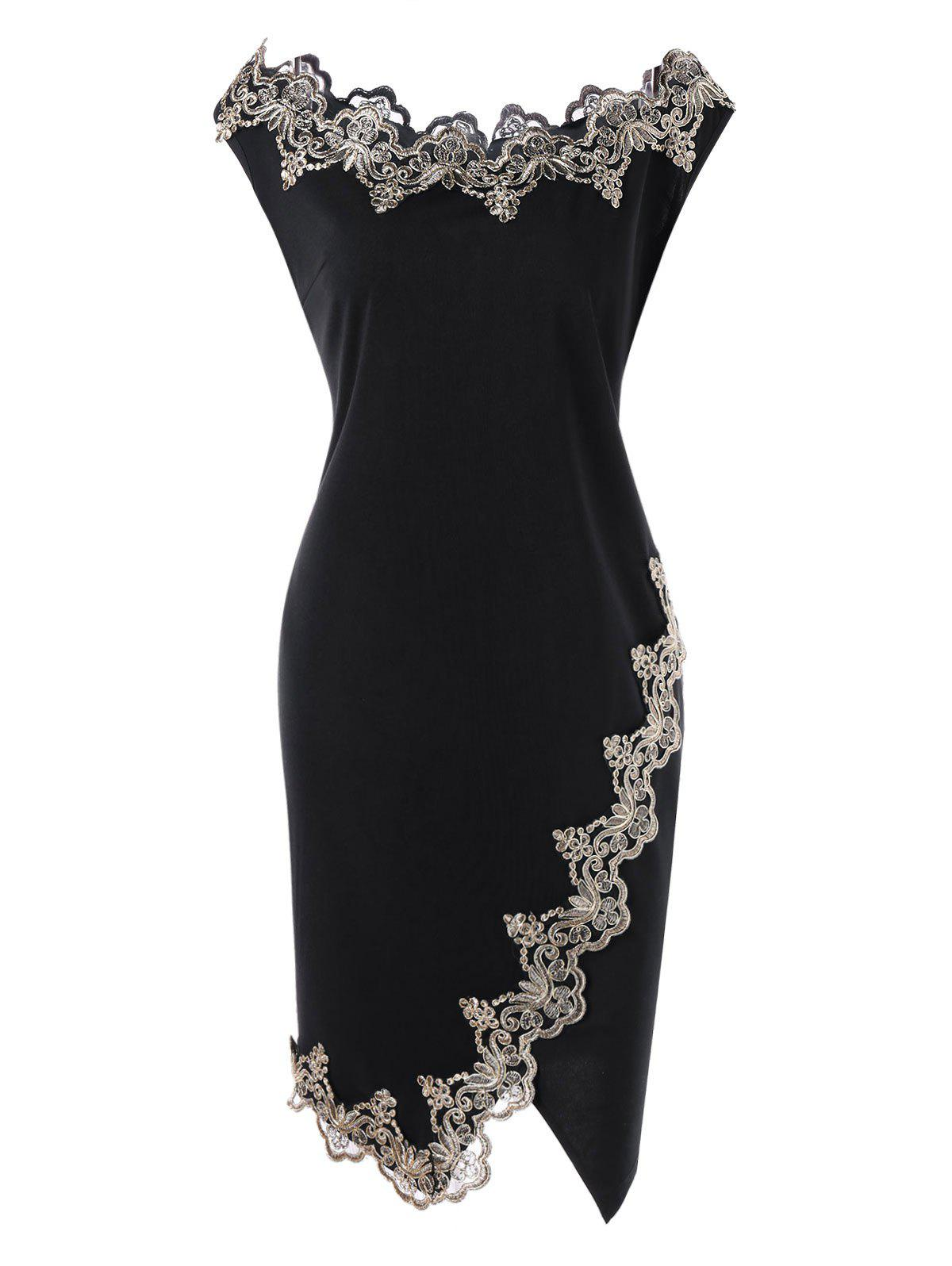 где купить Plus Size Flower Embroidered Trim Bodycon Dress дешево