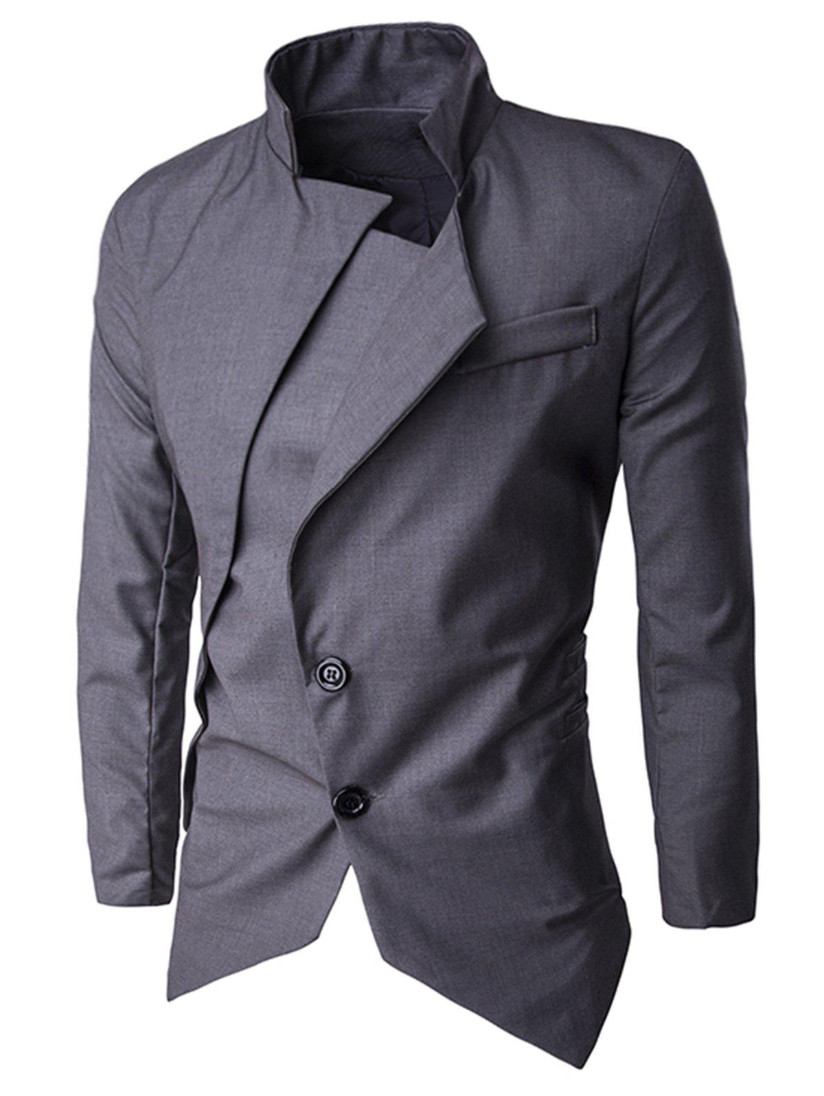 Asymmetric Single Breasted Blazer - DEEP GRAY 2XL