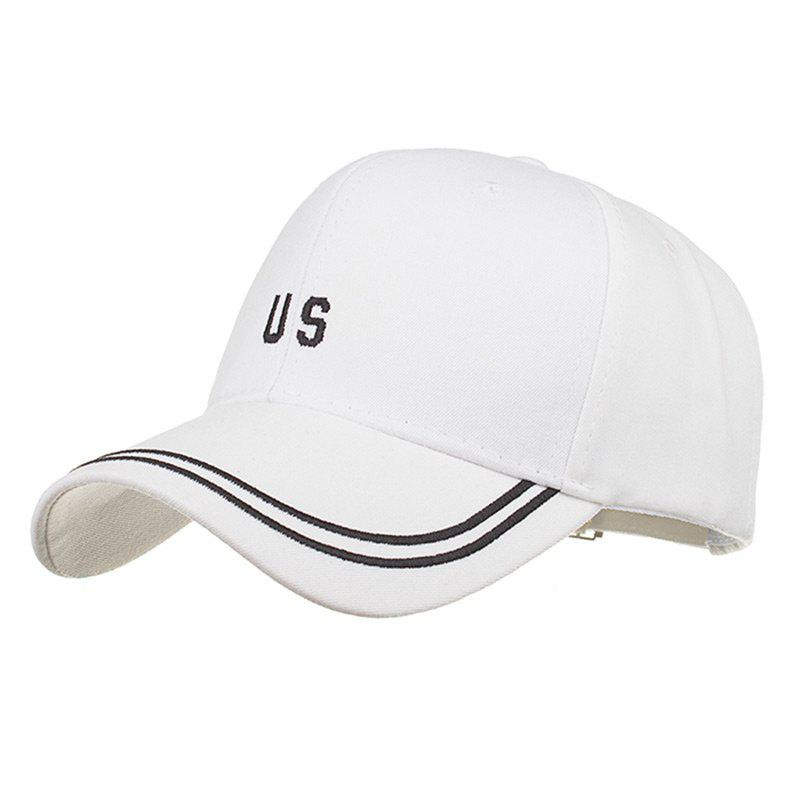 Unique US Embroidery Adjustable Sunscreen Hat - WHITE