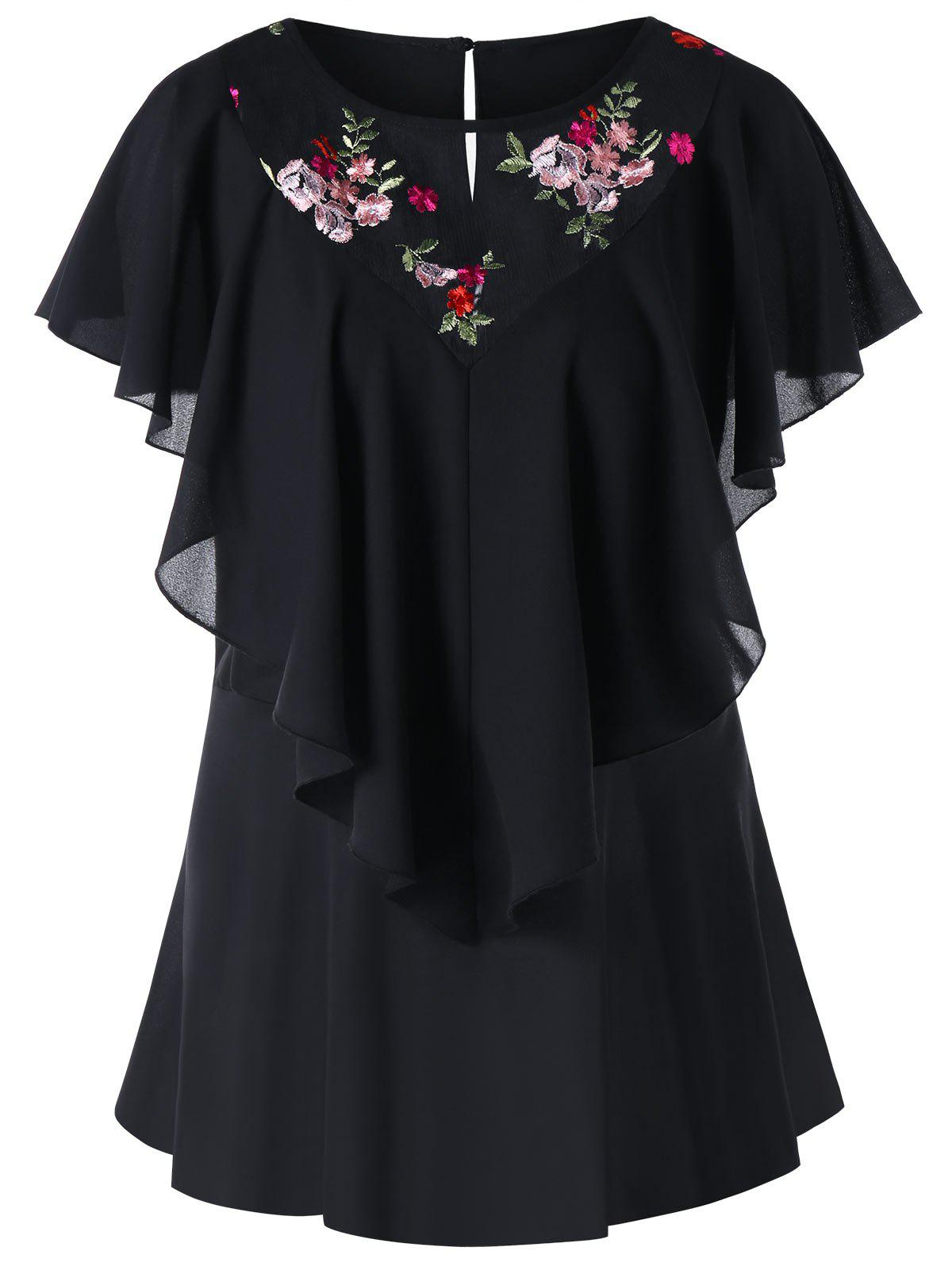 Plus Size Flounce Embroidered Mesh Panel Blouse flounce sleeve embroidered mesh dress