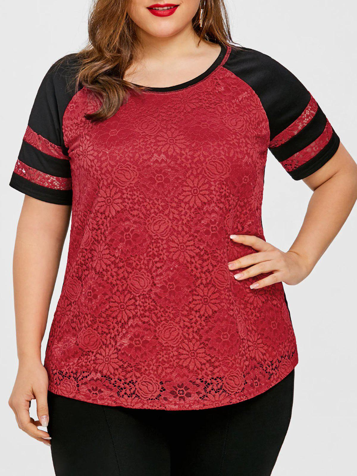 Plus Size Raglan Sleeve Lace Panel T-shirt stripe panel raglan sleeve t shirt