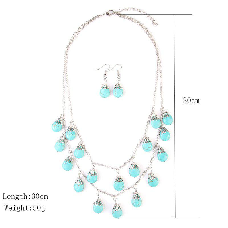 Faux Turquoise Teardrop Layered Necklace and Earrings - SILVER