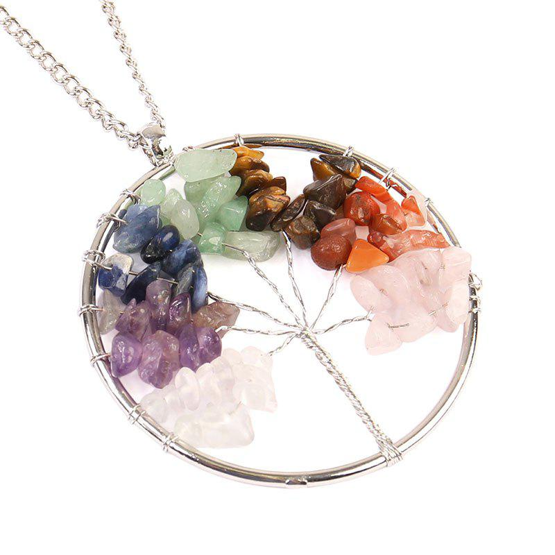 Natural Stone Tree of Life Round Necklace - SILVER