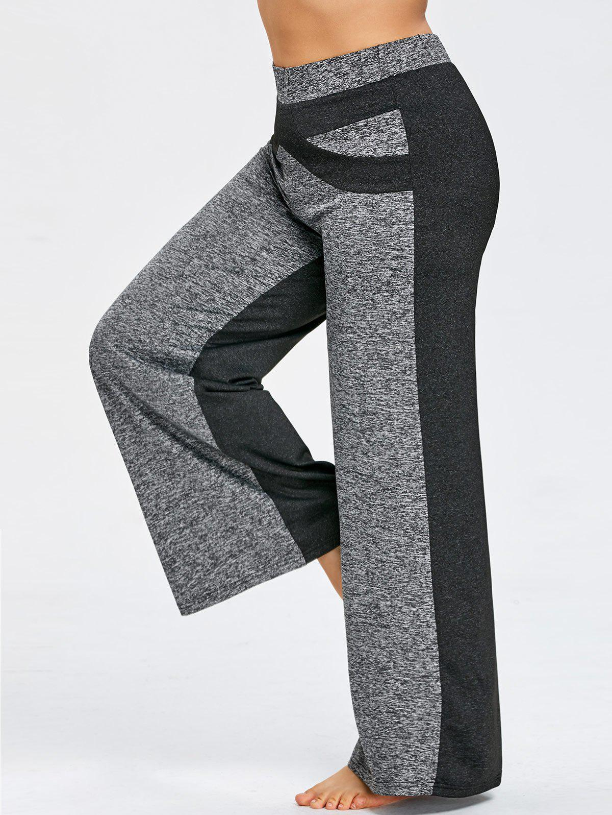 Color Block Plus Size Wide Legged Pants - GRAY XL