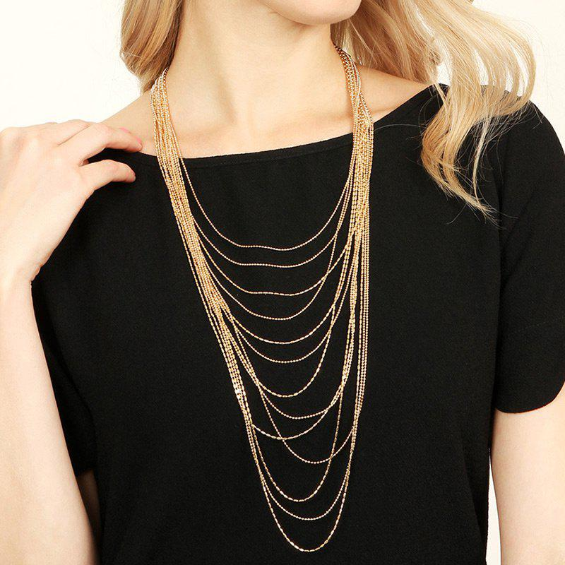 Layered Alloy Fringed Chain Necklace - GOLDEN