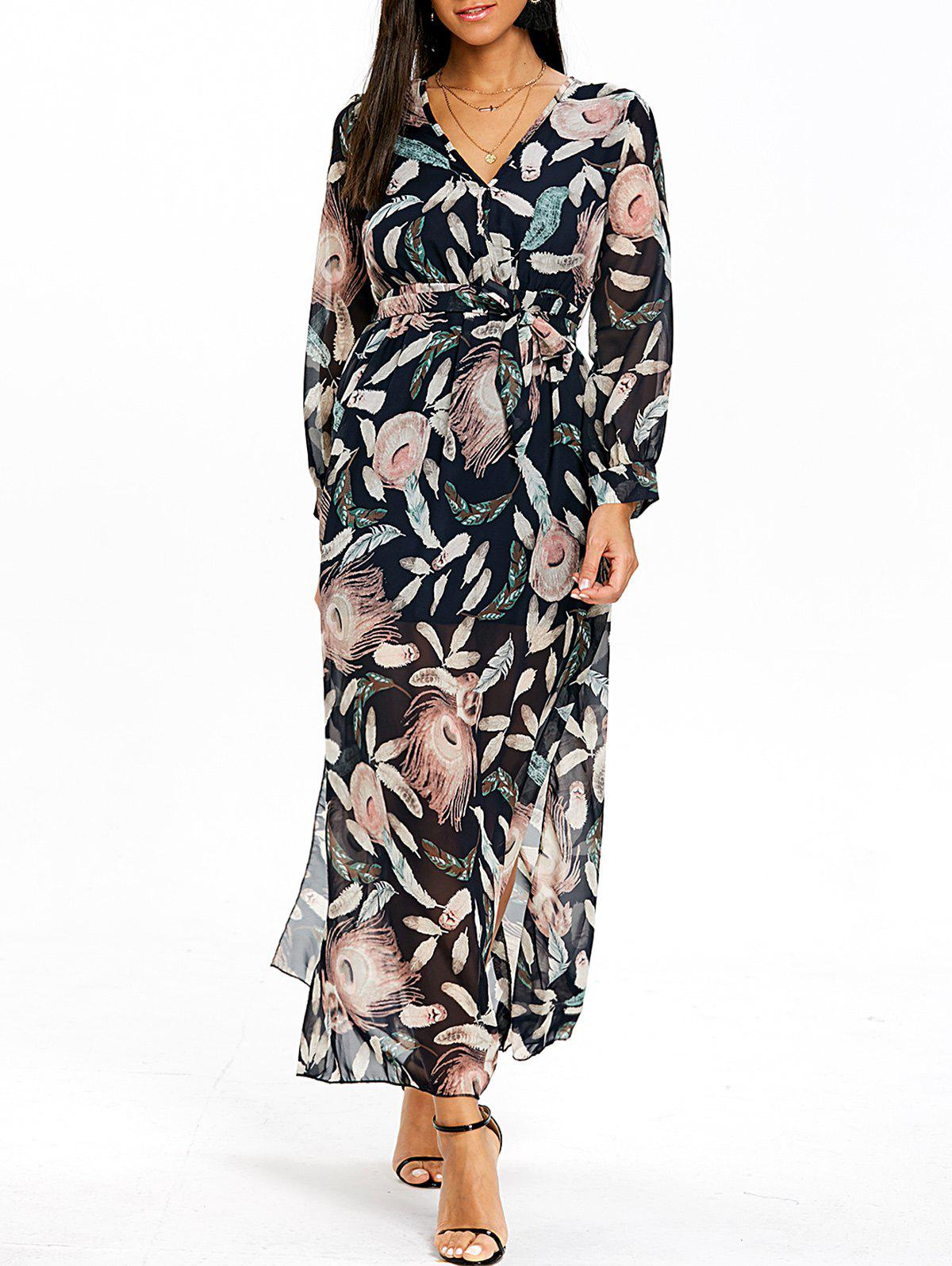 Feather Printed Surplice Dress - COLORMIX L