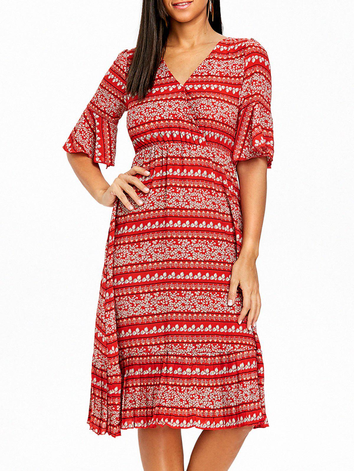 Bohemian Bell Sleeve Floral Midi Dress - RED L