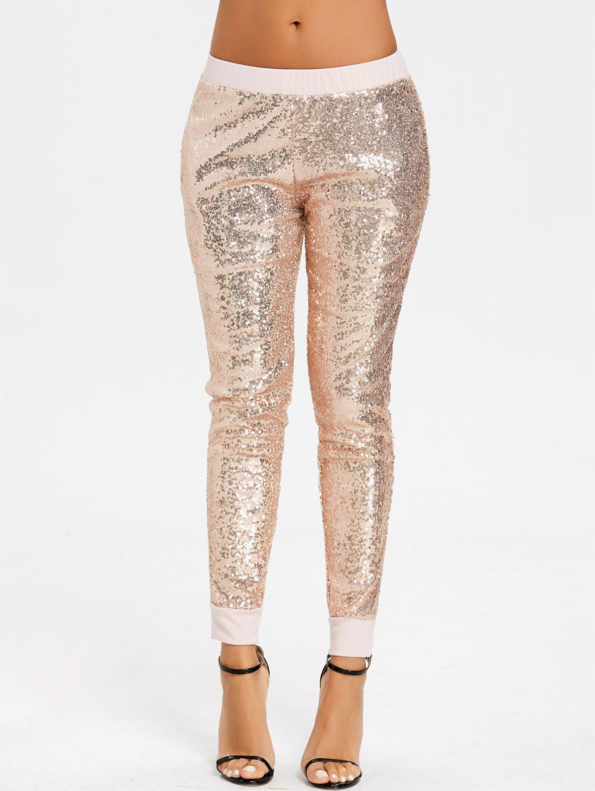 Sequins Glitter Joggers - GOLDEN S