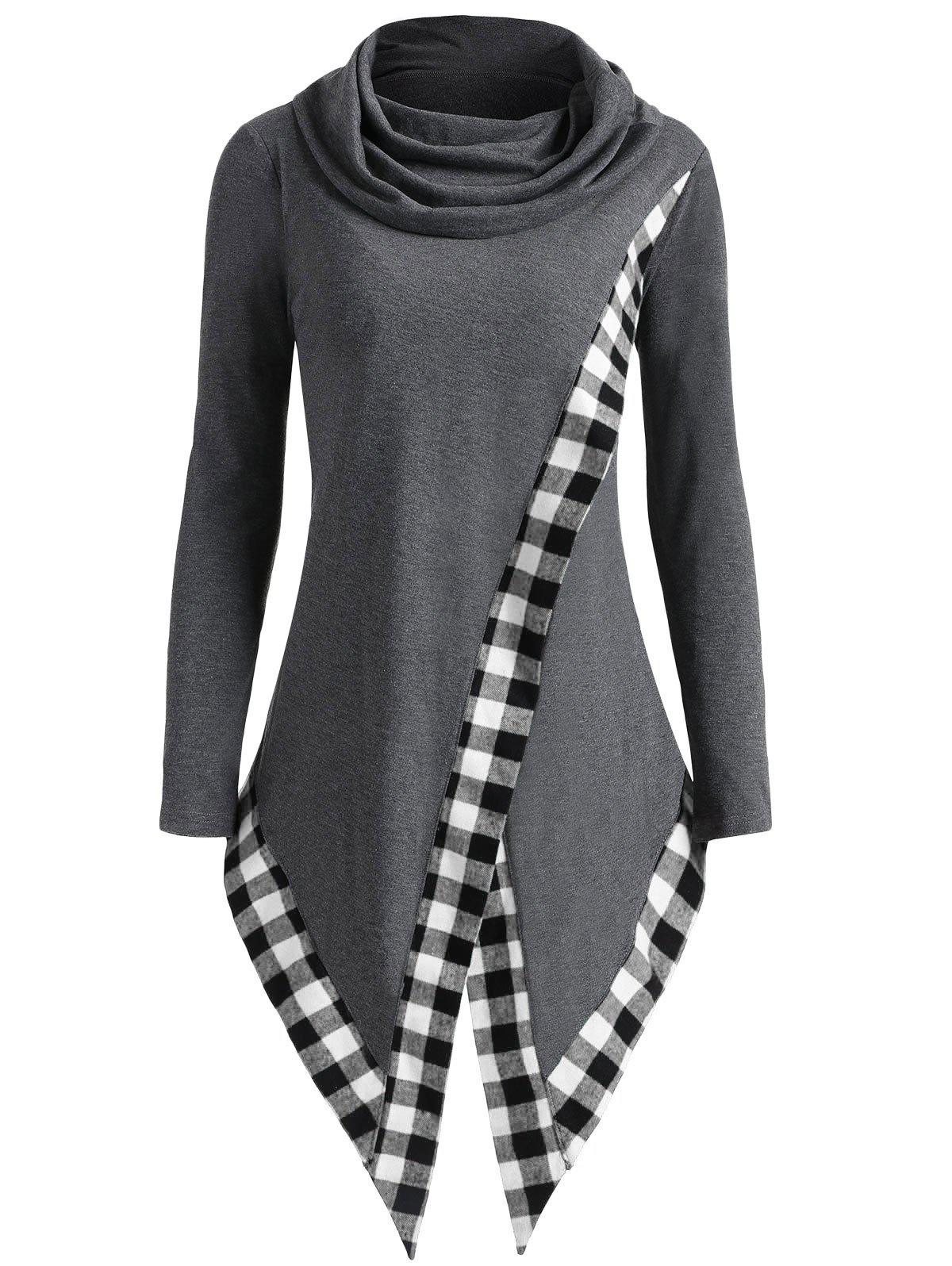 Asymmetric Plaid Panel Heap Collar Overlap Top - COLORMIX M