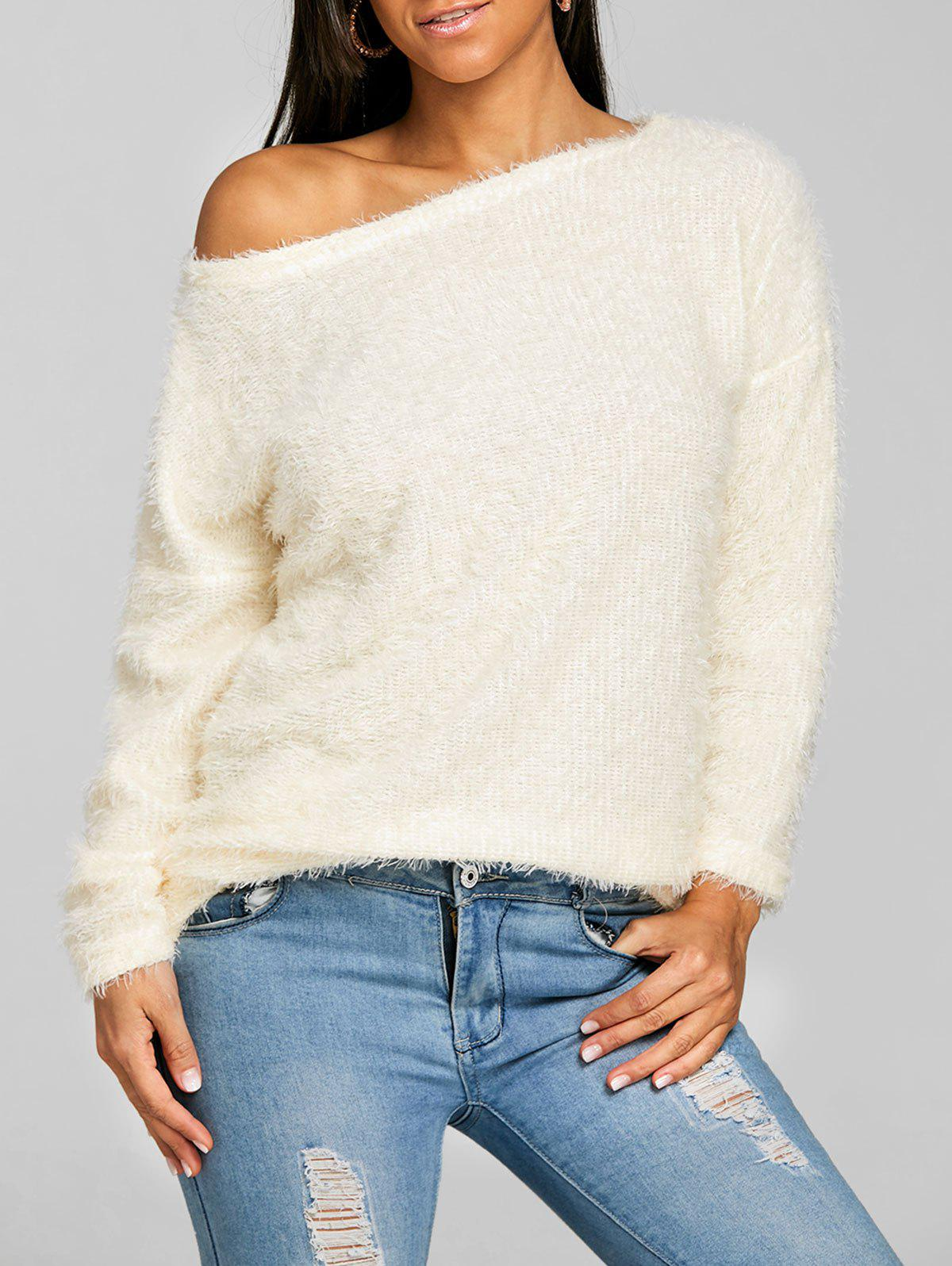 Fluffy Skew Neck Tunic Sweater - BEIGE XL