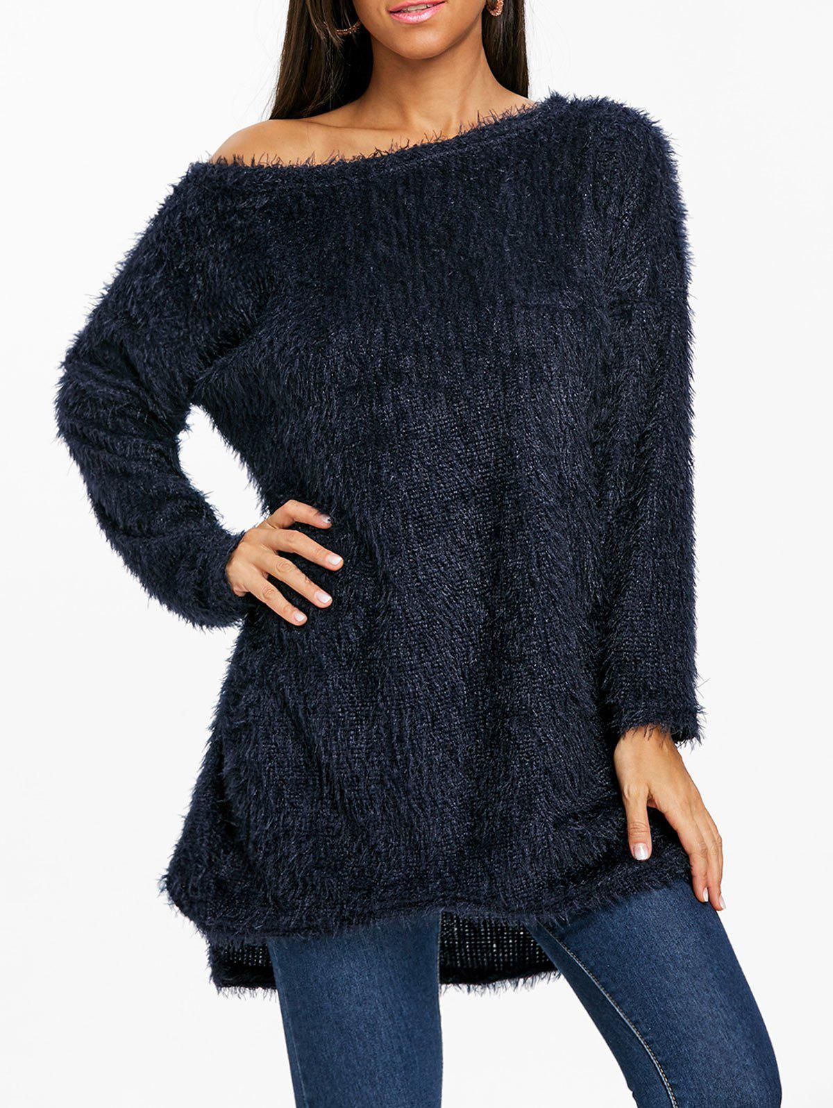 Fluffy Skew Neck Tunic Sweater - PURPLISH BLUE M
