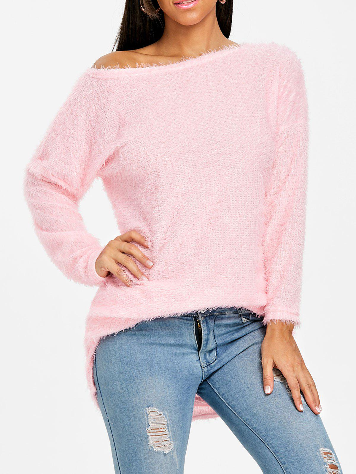 Fluffy Skew Neck Tunic Sweater - PINK M
