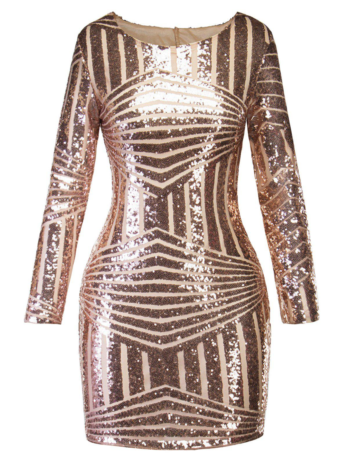 Cut Out Sequins Tunic Party Dress - GOLDEN 2XL