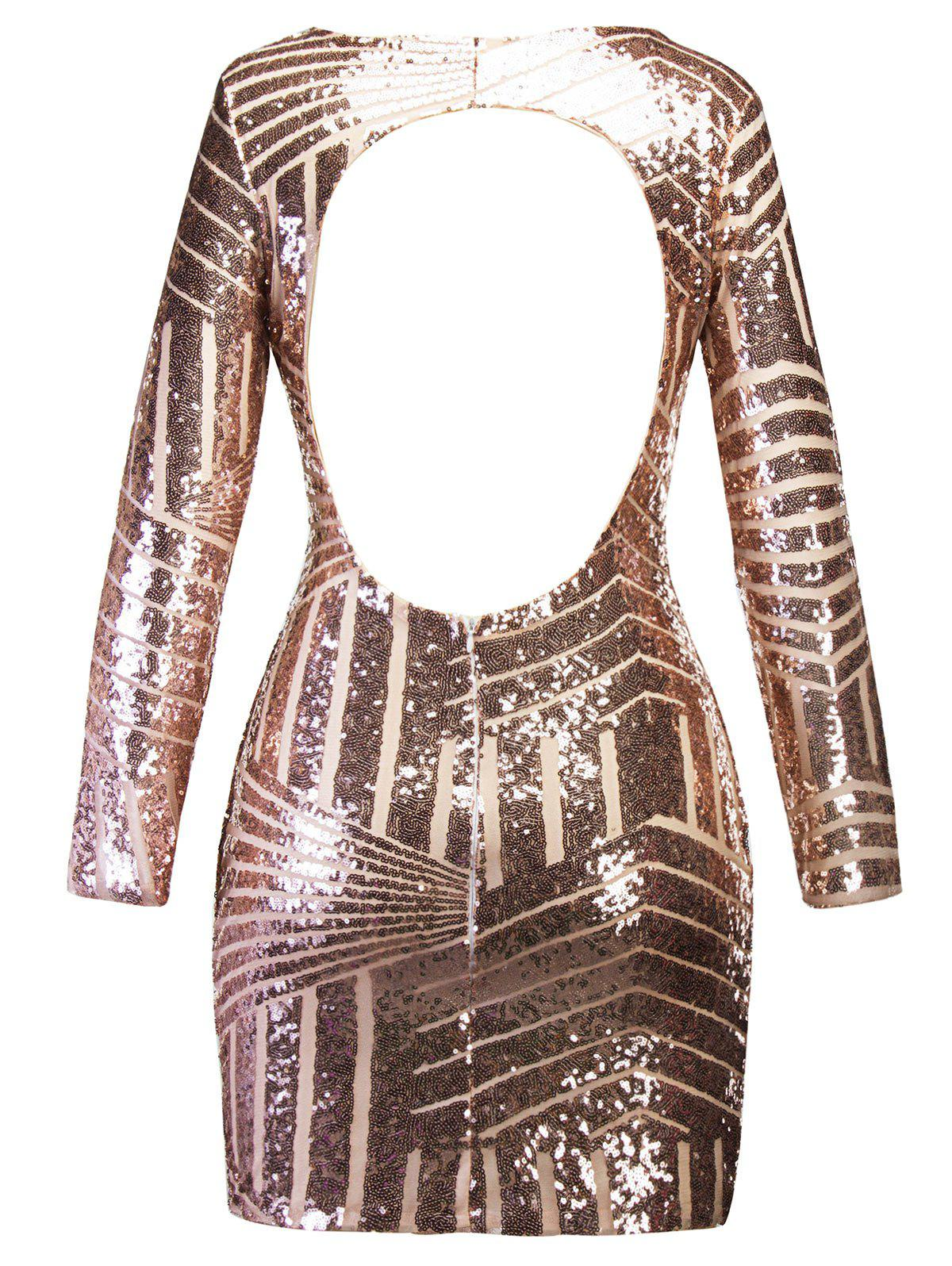 Backless Sequin Mini Bodycon Party Dress - GOLDEN 2XL