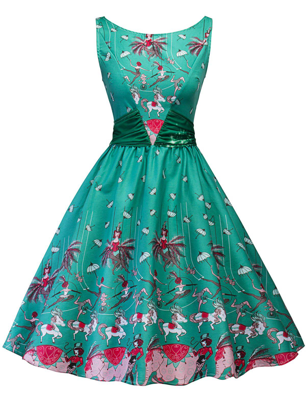 Retro Printed Ruched Skater Dress retro butterfly pattern skater dress