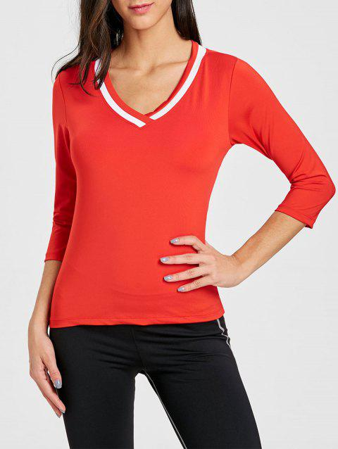 Contrast V Neck Workout T-shirt - RED L