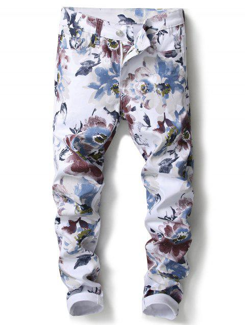 Florals Print Narrow Feet Jeans - WHITE 36