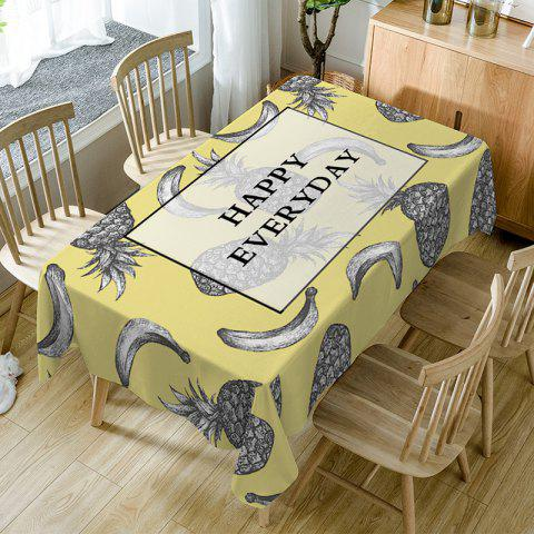 Nappe de Table Imperméable à Imprimé Inscriptions Happy Everyday et Fruits - multicolore W54 INCH * L54 INCH