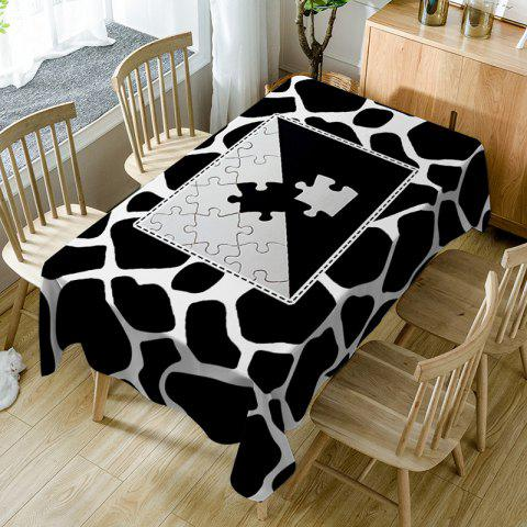 Jigsaw Print Fabric Waterproof Dining Table Cloth - BLACK WHITE W60 INCH * L84 INCH