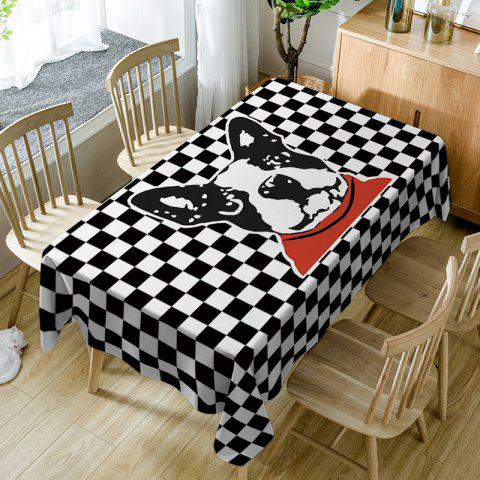Dog Plaid Print Fabric Waterproof Table Cloth - BLACK WHITE W60 INCH * L84 INCH