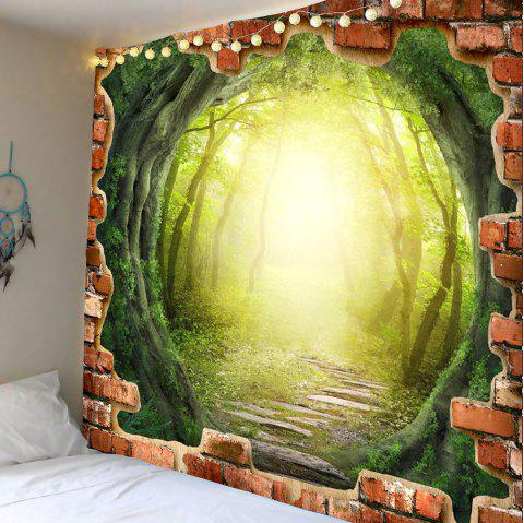 Tree Hole Dreamy Forest Pathway Printed Wall Art Tapestry - GREEN W71 INCH * L71 INCH