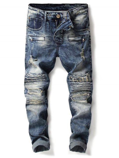 Accordion Pleat Bleach Wash Ripped Biker Jeans - DENIM BLUE 36