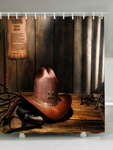 West Cowboy Hat Pattern Showerproof Bath Curtain - BROWN W71 INCH   L79 INCH 2144282ea327