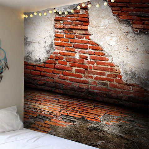 Decorative Broken Brick Wall Printed Tapestry - BRICK RED W59 INCH * L51 INCH