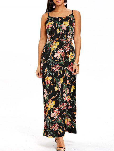 Spaghetti Strap Flower Print Flowy Dress - COLORMIX S