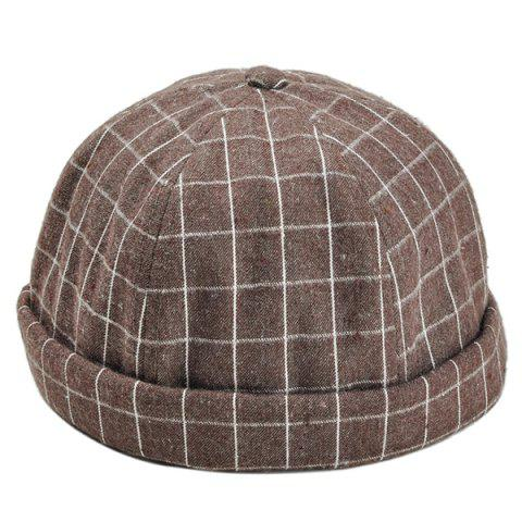 Retro Checked Pattern Embellished Landlord Hat - MOCHA